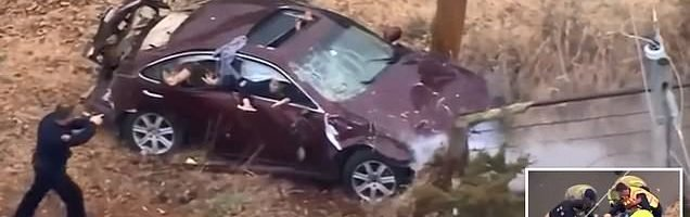 Dramatic high speed police chase ends with car smashed into